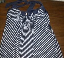 Women Panache Swim Tankini Blue White 34DD Underwire
