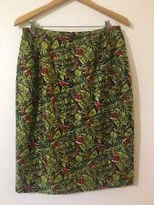 New Macaw Parrot Pencil Skirt Size 12 Harve Bernard Silk Green Red NWT
