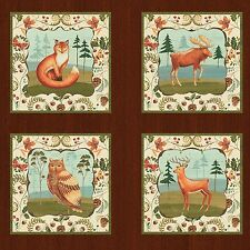 Fabric Wild Woods Animals on Cotton Panel 23x21 12 Squares