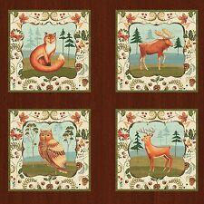 "Fabric Wild Woods Fox Deer Moose Owl Duck Bear on Cotton 20""x21"" 12 Square Panel"