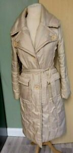 Ladies Womens Full Length Puffa Padded Winter  Belted Coat Size 12 Light Gold