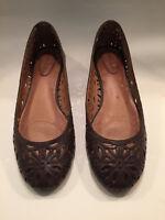 Corso Como Floral US 8M Ballet Flats Dark Brown Cut Out Leather Laser Cut Shoes