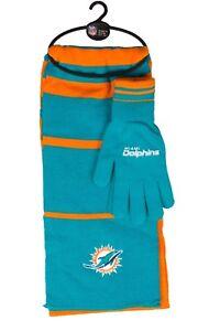NFL Miami Dolphins Scarf Glove Gift Set Stripe 2017 *New*
