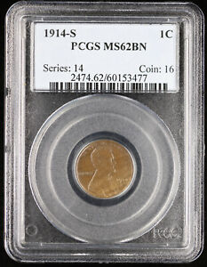 1914-S 1c Lincoln Wheat Cent PCGS MS 62 BN
