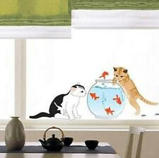 Two Cats Playing Goldfish Wall Decal Sticker Home Decor Kids Room Vinyl Art