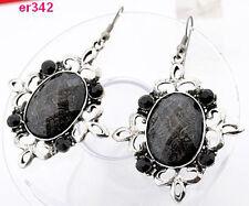 1pair exquisite Tibetan Silver lovely Crystal Beaded dangle dragon Earring er342
