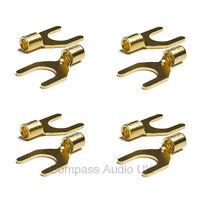 10 Gold Spade Terminal Connectors for Speaker Cable Crimp or Solder 8mm Fork
