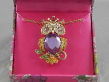 Betsey Johnson Goldtone Purple Crystal Owl Removable Pin Pendant Necklace