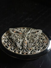 TRINKET BOX with crystal butterfly  White Metal, lovely gift