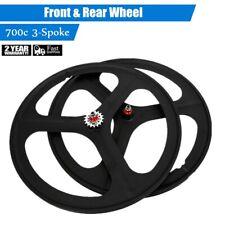 3-Spoke 700c Front & Rear Set Single Speed Fixie Bicycle Wheel Fixed Gear Bike