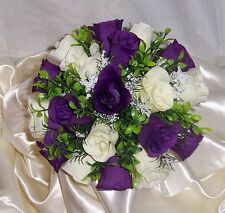 bride or bridesmaids wedding posy ivory & cadbury purple other colours available
