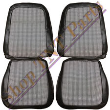 1969 Camaro Seat Covers Deluxe Front Bucket Upholstery Skins Black & Houndstooth