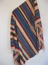Vintage MEXICAN Wool Hand Woven Saltillo SERAPE BLANKET blue Multi Color Stripes