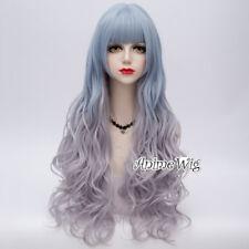 Lolita 65cm Long Wavy Ombre Light Blue Purple Mixed Party Cosplay Wig+Wig Cap