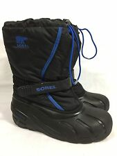 Sorel Waterproof Rain Boots Fleece Lined Black Blue Women's 6 Toggle Closure
