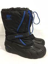 Sorel Waterproof Rain Boots Fleece Lined Black Blue Women's 6 Toggle Closure