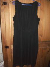 Ladies Fully Lined Black Sleeveless Side Zip Dress Size 14