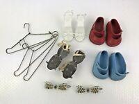Vintage Sherwood NY Metal Adjustable Doll Skates w Clothes Hangers Shoes PLUS