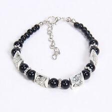 NEW DIY fashion Black butterfly Tibetan silver beaded bracelet gift of love S26