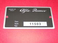 Targhetta Alfa Romeo Identificazione Segno 10102 Igm 0993 Giulietta Sprint S37