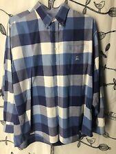 Cinch Men's Long Sleeve Plaid Shirt Cotton Blue- White Size XL