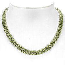 Plata 925 Natural Genuino Apple Verde Peridot de tres fila Collar 20 Pulgadas # 2