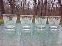 Vtg Libbey Wedding Basket White Floral Juice Wine 6 Oz Drink Glass Set Of 4 RARE