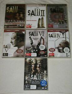 Saw 1, 2, 3, 4, 5, 6, 7 - Region 4 - VGC - DVD - Lot
