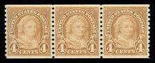 Momen: Us Stamps #601 Coil Strip Of 3 Mint Og Nh Xf Pse Cert #1325920