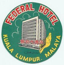 KUALA LUMPUR MALAYA FEDERAL HOTEL VINTAGE LUGGAGE LABEL