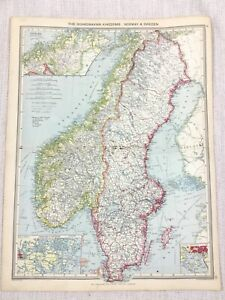 1909 Antique Map of Norway Sweden Scandinavia Christiania George Philip