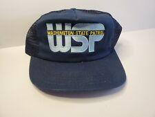 VTG 80s - WSP WASHINGTON STATE PATROL Snapback Trucker Baseball Hat Cap MESH USA