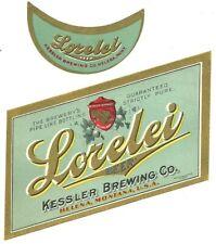 Lorelei beer bottle label, Kessler, Helena, Montana, prepro, pre- Irtp, (aqua)