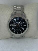 Fossil NDW1 Men's Silver Stainless Steel Analog Dial Quartz Genuine Watch E156