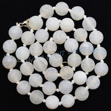 White 6/8/10mm Matte Dream Fire Veins Agate Gems Round Beads Necklaces 14-55''