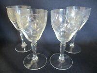 4 x Vintage, Retro, Kitsch Cut Glass Port, Dessert Wine Etched Glasses