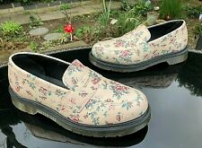 DR. MARTENS Addy pink rose floral slip on leather penny loafer shoes UK 5 EU 38