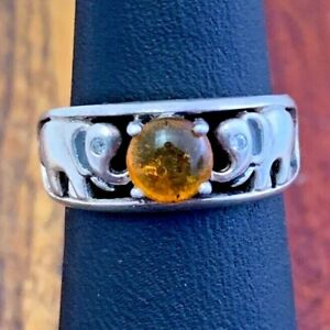 Sterling Silver Prong Set Amber Lucky Elephant Band Ring sz 5 1/2 (i12#1)