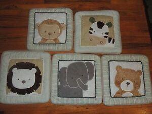 KIDSLINE BEAR & BUDDIES 5 SOFT WALL HANGINGS ELEPHANT LION ZEBRA MONKEY JUNGLE