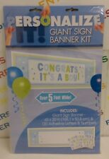 "Giant 65""x20"" Make/Create Your Own Personalised Banner 120 Letters/Numbers- BLUE"