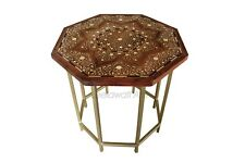 Handmade Bone Inlay Floral Design Coffee Table Side Table Nightstand Brass Legs