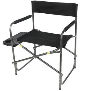 Folding Directors Chair Outdoor Camping Heavy Duty Foldout Side Table Cup Holder