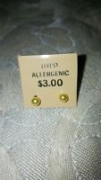 Yellow Gold Ball Stud Earrings Hypoallergenic Surgical Steel Posts Backs 6mm