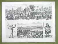 GERMANY in Middle Ages Village Square Festival Scene etc - 1870s Engraving Print