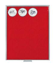 Lindner 2543 Münzenbox-grau / rote Einlage