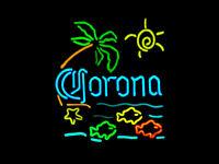 "17""x14""Corona Fish Palm Tree Sun Beach Neon Sign Light Beer Bar Pub Wall Hanging"