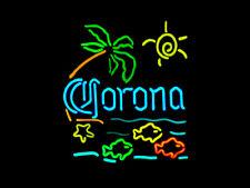 """Corona Tropial Fish Palm Tree Neon Sign Light Beer Bar Pub Aquarium Decor17""""x14"""""""