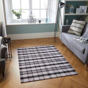 Cottage Grey Tartan Checked Anti-Slip Rug Runner Doormat Flatweave Country