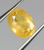 1.83 CT NATURAL YELLOW SAPPHIRE CERTIFIED OVAL CUT LOOSE GEMSTONE TRANSPARENT