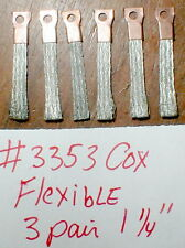 "3 pair Flexible pick-up brushes W/Hole Vintage 1960's COX (short) 1 1/4"" #3353"